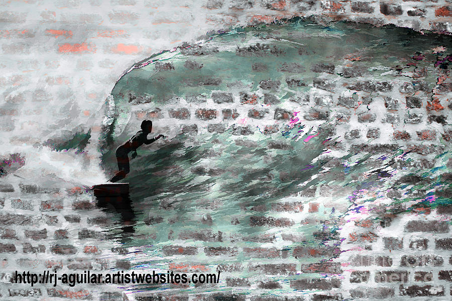 Surfing The Wall Photograph  - Surfing The Wall Fine Art Print