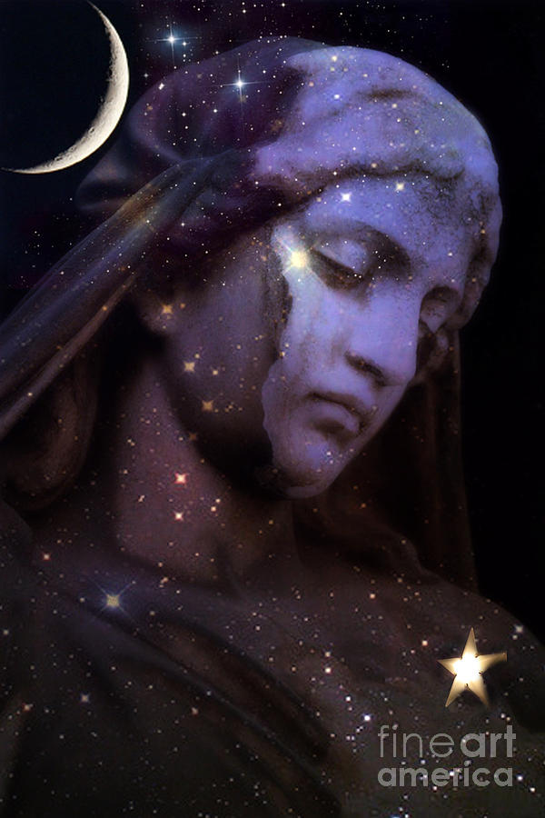 Surreal Celestial Angel With Stars And Moon Photograph  - Surreal Celestial Angel With Stars And Moon Fine Art Print