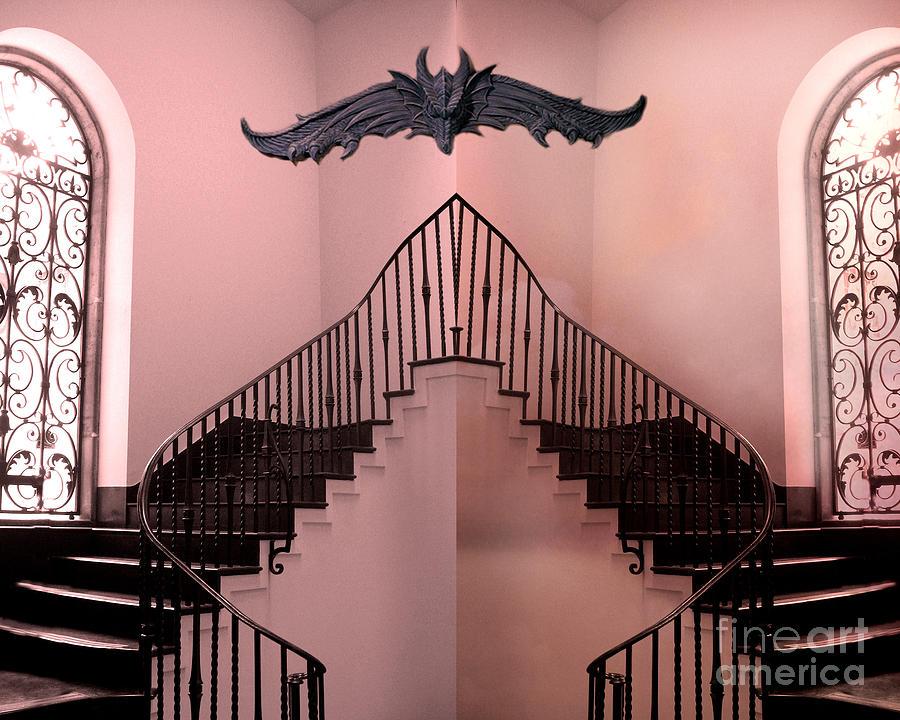 Gargoyle Fantasy Art Prints Photograph - Surreal Fantasy Gothic Gargoyle Over Staircase by Kathy Fornal