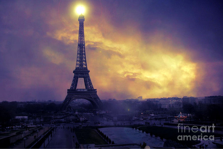 Surreal Fantasy Paris Eiffel Tower Sunset Sky Scene Photograph  - Surreal Fantasy Paris Eiffel Tower Sunset Sky Scene Fine Art Print