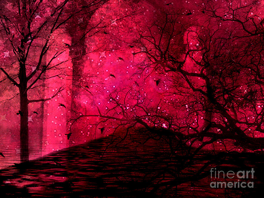 Surreal Fantasy Red Nature Trees And Birds Photograph