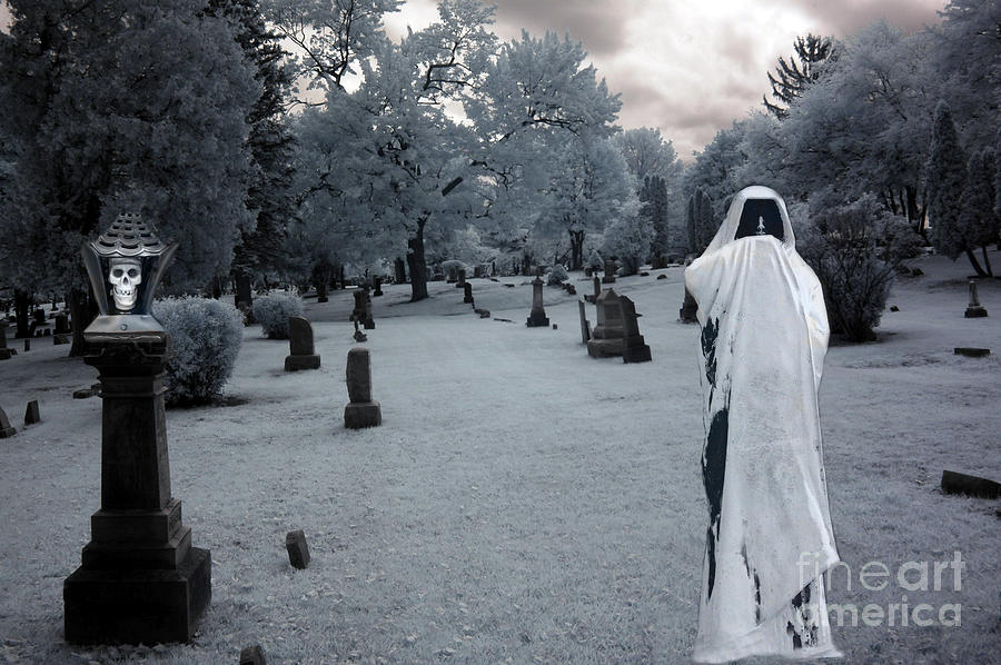 Surreal Gothic Spooky Grim Reaper And Skull Photograph