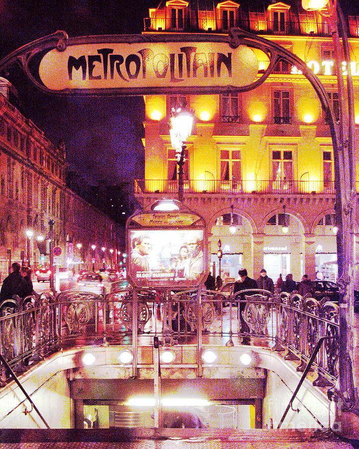 surreal paris metro station night scene art deco photograph surreal paris metro station night. Black Bedroom Furniture Sets. Home Design Ideas