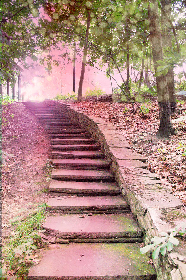 Surreal Pink Fantasy Dream Staircase Photograph  - Surreal Pink Fantasy Dream Staircase Fine Art Print