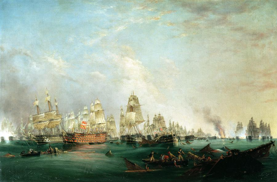 Surrender Of The Santissima Trinidad To Neptune The Battle Of Trafalgar Painting  - Surrender Of The Santissima Trinidad To Neptune The Battle Of Trafalgar Fine Art Print