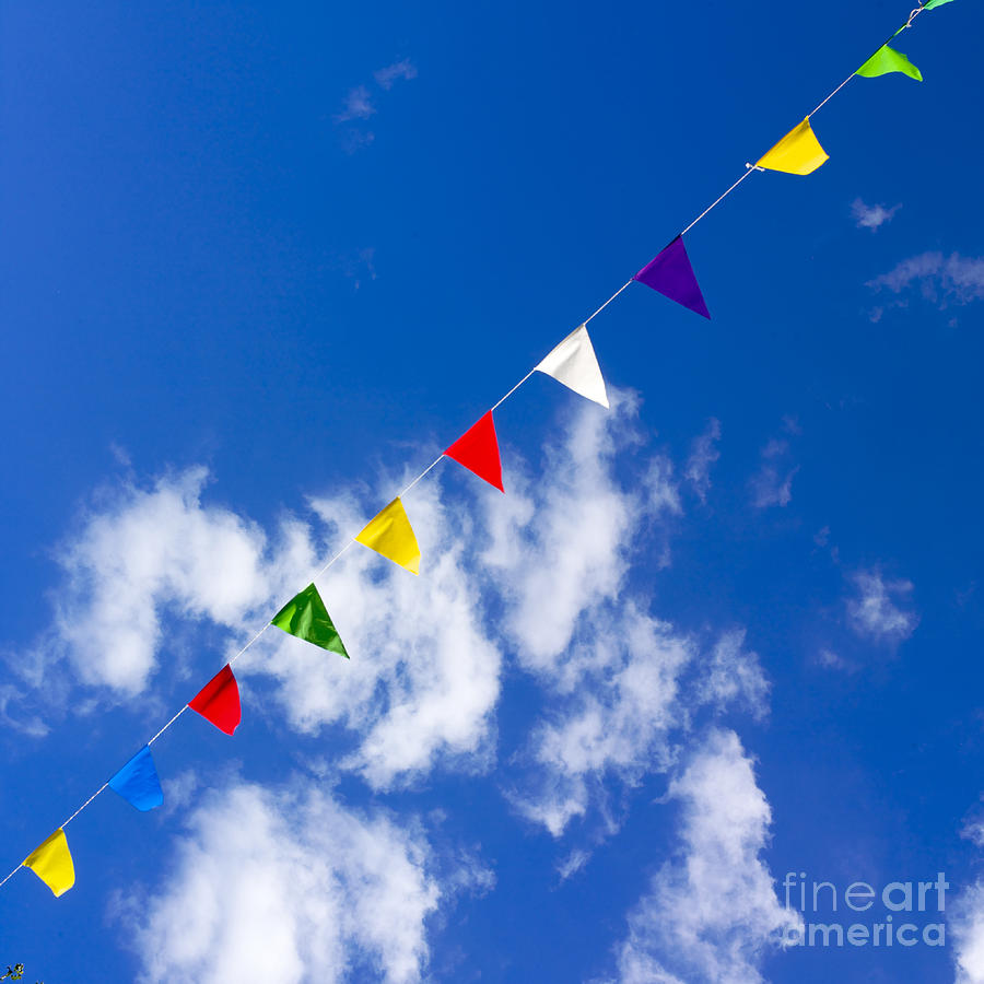 Suspended Festive Flags. Photograph  - Suspended Festive Flags. Fine Art Print