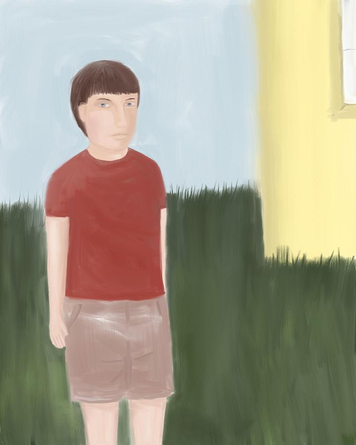 Suspicous Boy In Red Shirt Digital Art  - Suspicous Boy In Red Shirt Fine Art Print