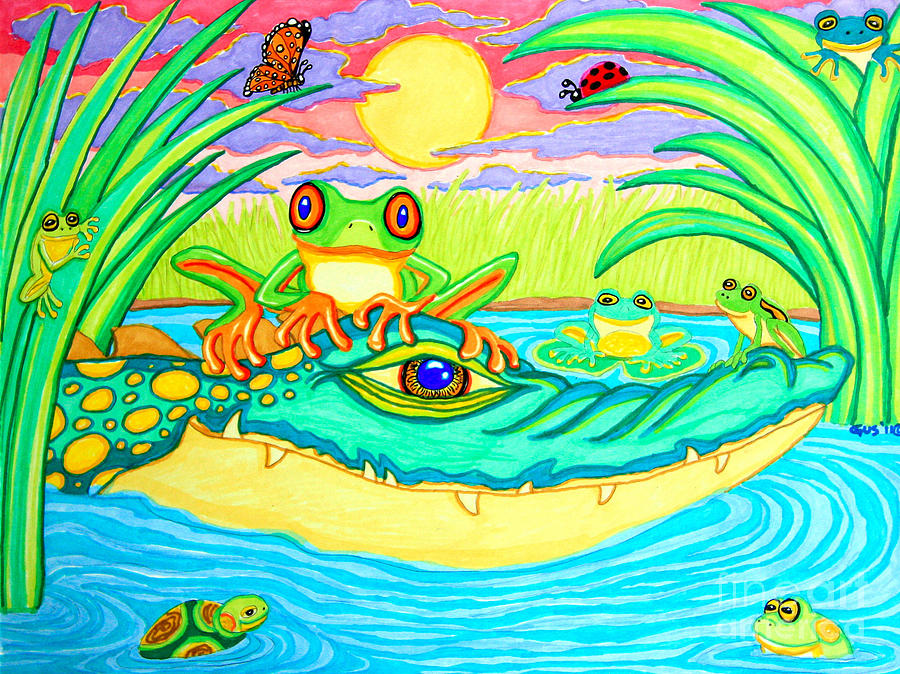 Swamp Life Drawing  - Swamp Life Fine Art Print