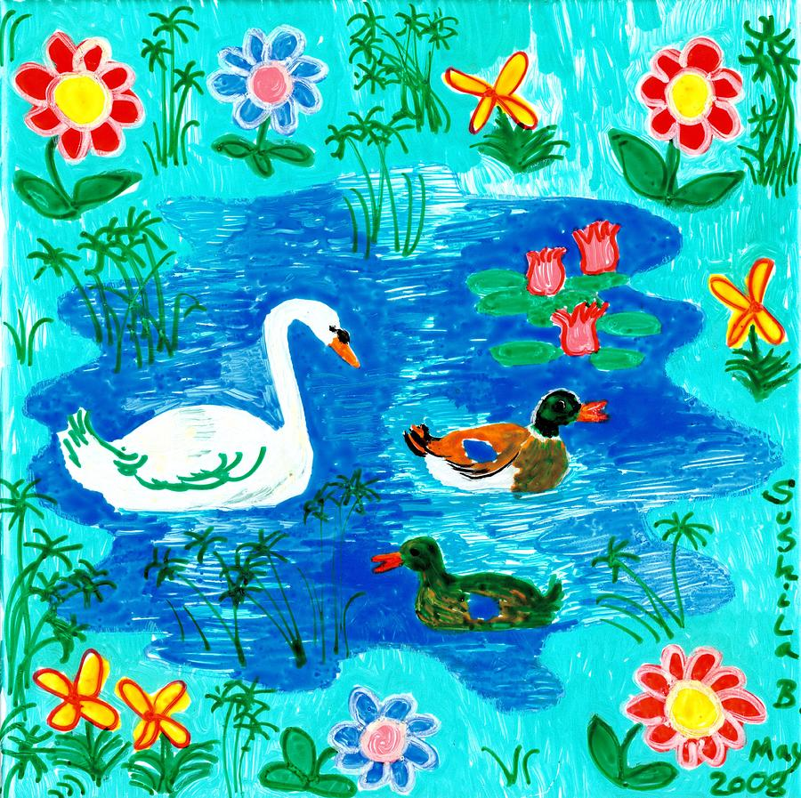 Swan And Two Ducks Painting