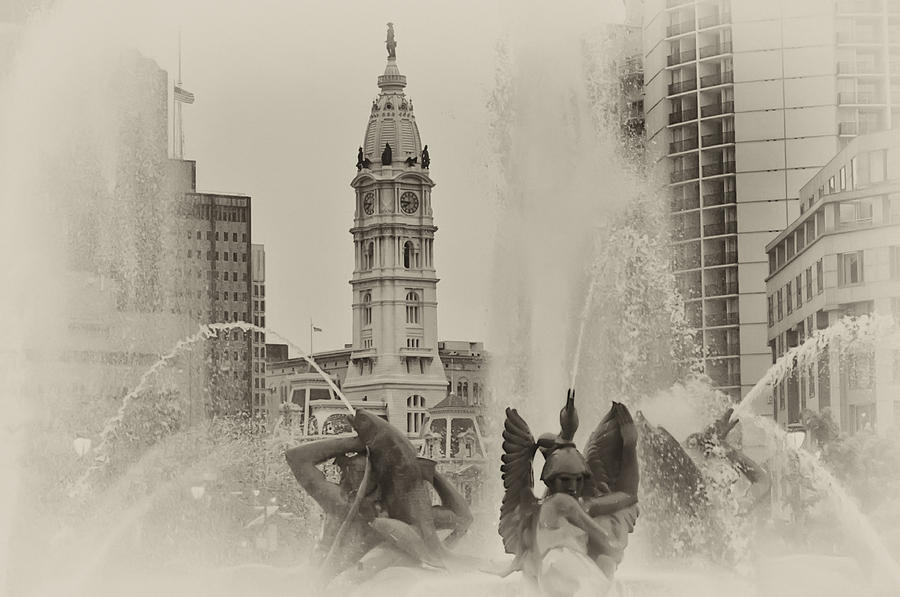 Swann Memorial Fountain In Sepia Photograph