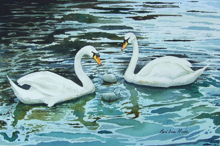 Swans And Cygnets Painting