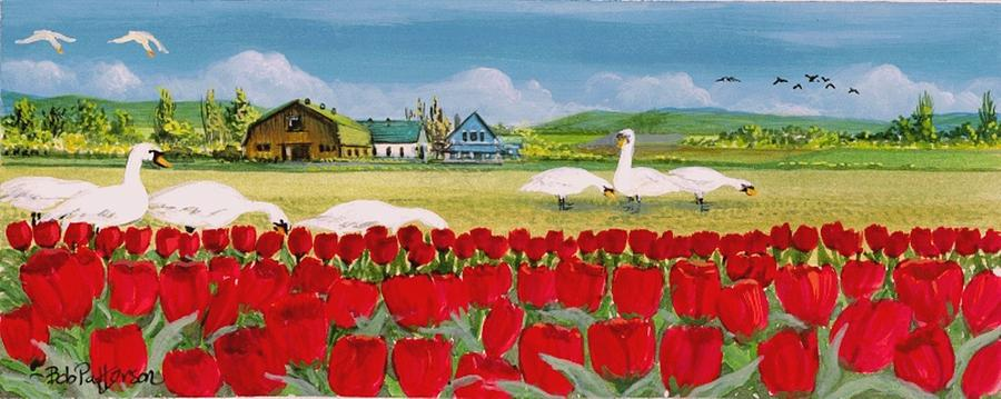 Swans And Tulips Painting  - Swans And Tulips Fine Art Print