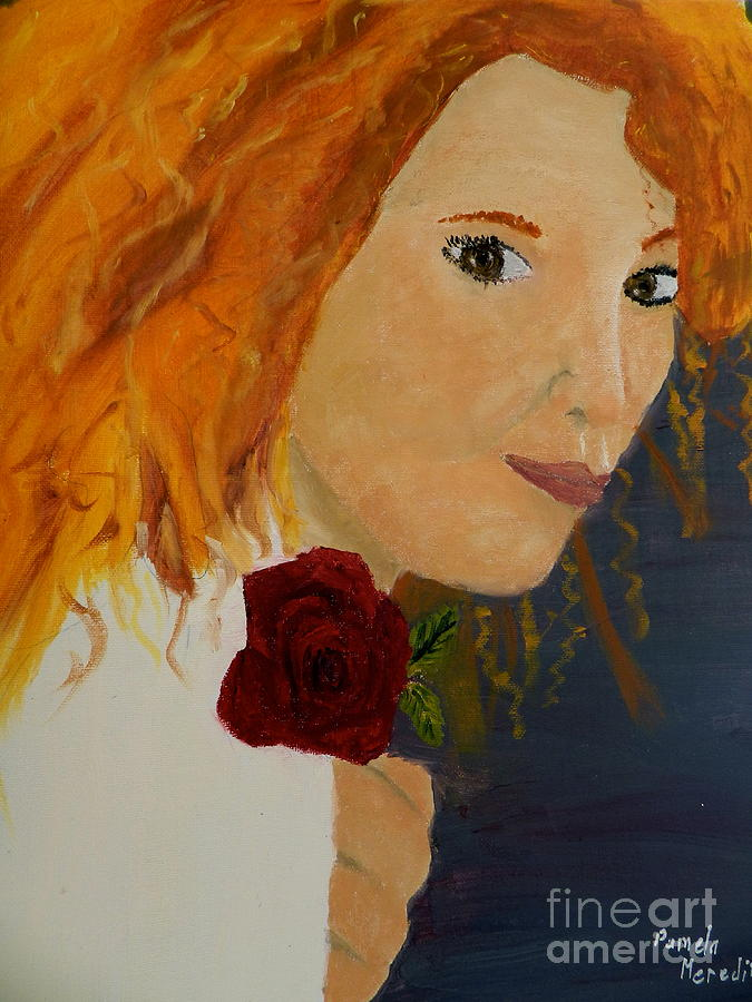 Sweet Lady Holding A Rose Painting  - Sweet Lady Holding A Rose Fine Art Print