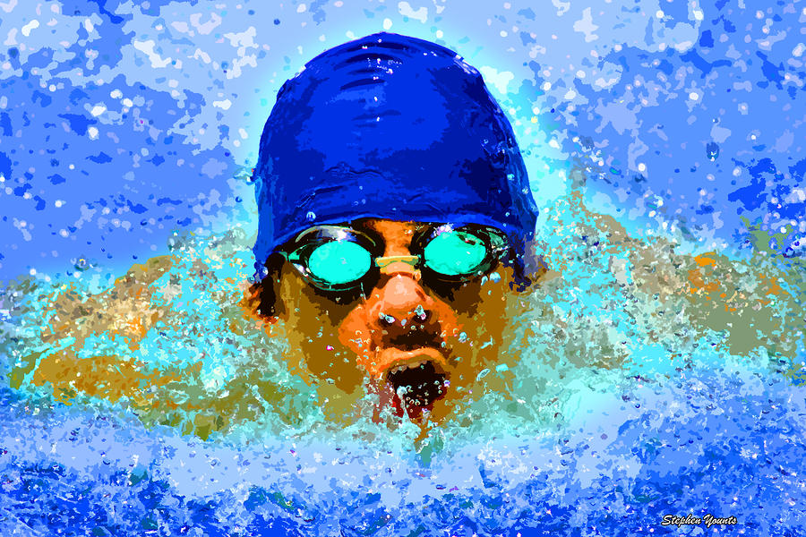 Swimmer Digital Art  - Swimmer Fine Art Print