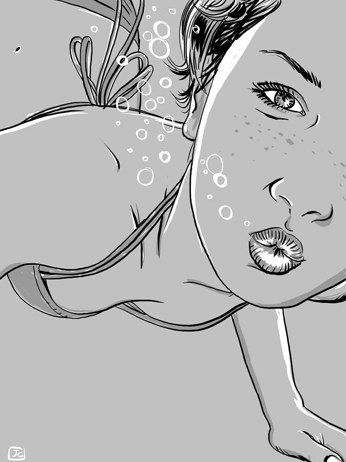 Swimming Girl Drawing  - Swimming Girl Fine Art Print
