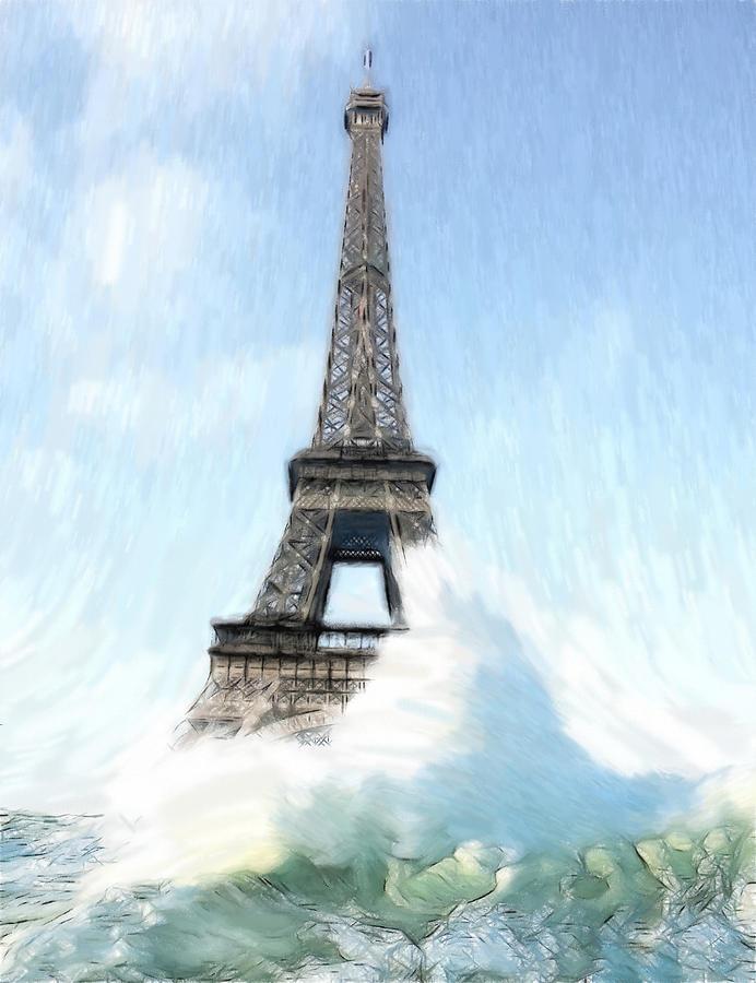 Ark Noah Flood Water High Tide Eifelturm Eiffel Tower Tour France Paris Wave Waves Painting Apocalypse Deluge Sinnflut Storm Water Atlantic Sea Ocean Judgment Day Painting - Swimming Pleasure In Paris by Steve K