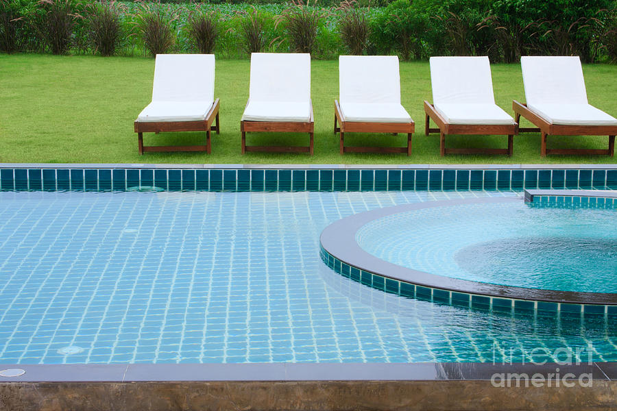 Swimming Pool And Chairs Photograph  - Swimming Pool And Chairs Fine Art Print