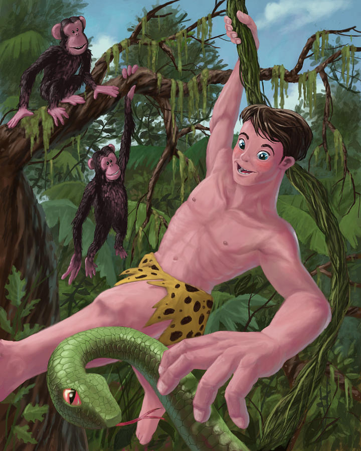 Swinging Boy Tarzan Painting  - Swinging Boy Tarzan Fine Art Print