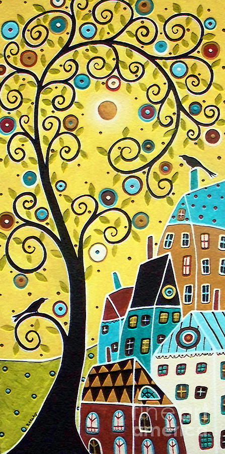 Swirl Tree Two Birds And Houses Painting