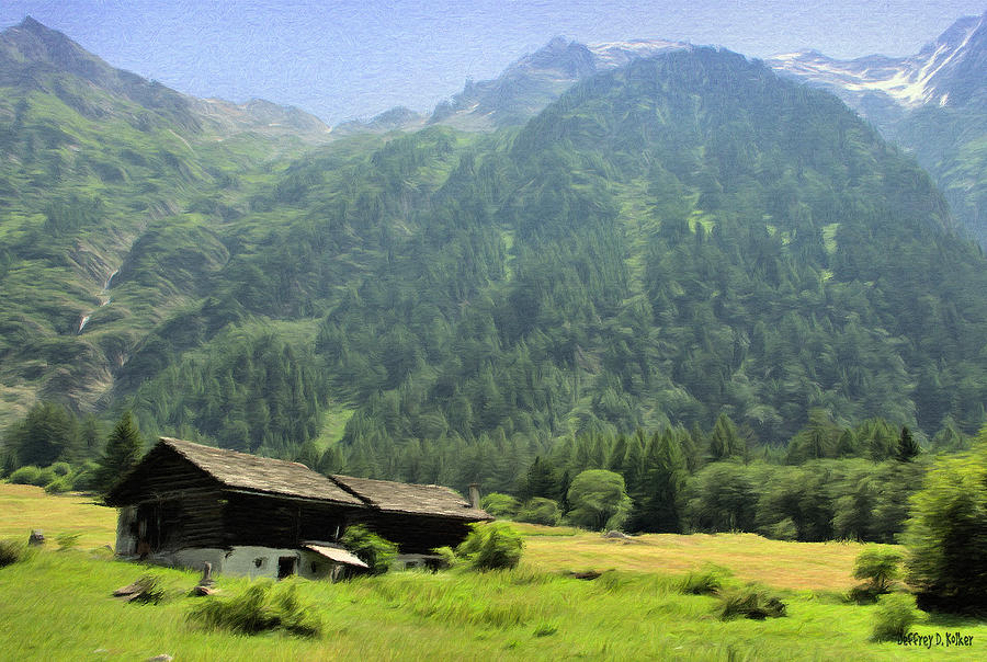 Swiss Mountain Home Painting  - Swiss Mountain Home Fine Art Print