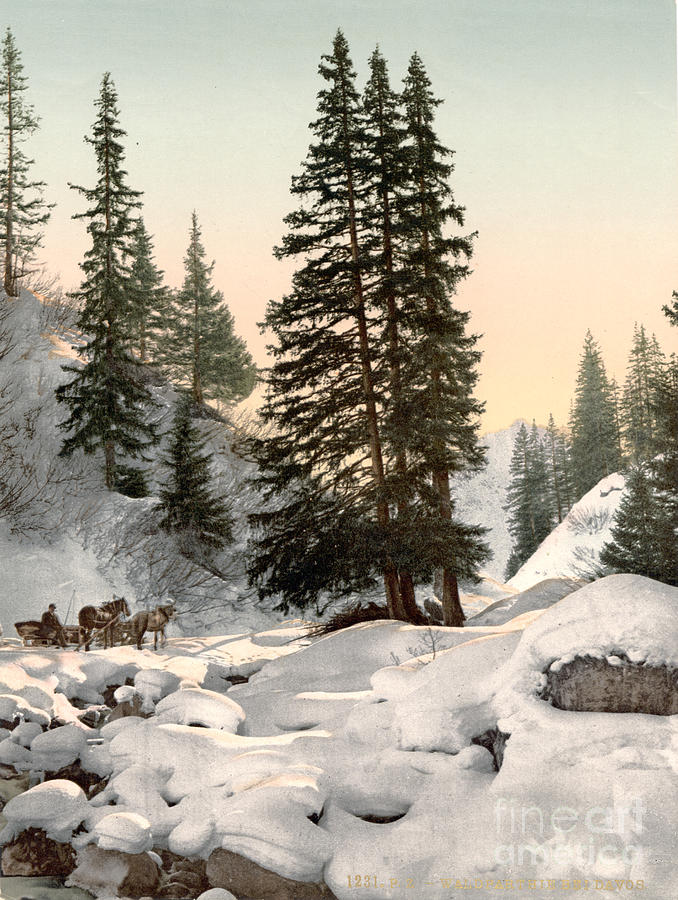 Switzerland: Davos, C1895 Painting