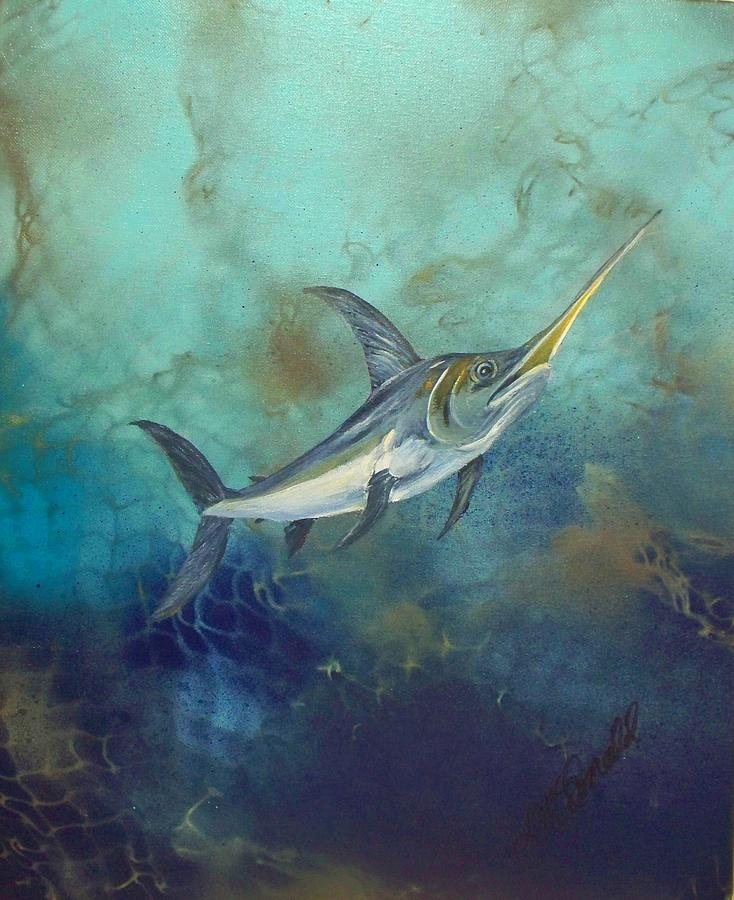 Swordfish Underwater Painting by Lynda McDonald Swordfish Underwater