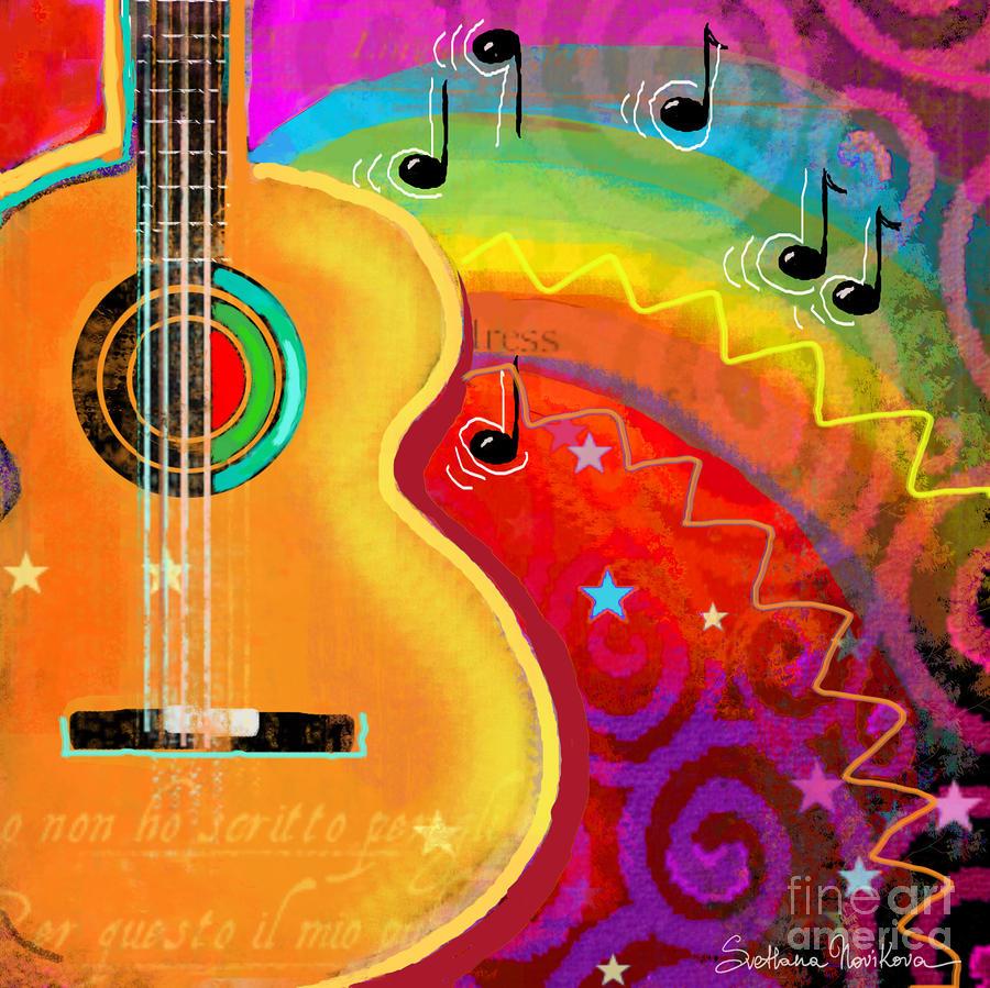 Sxsw Musical Guitar Fantasy Painting Print Painting
