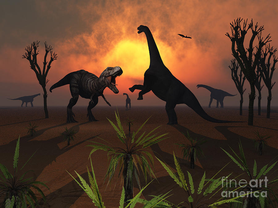 T. Rex Confronts A Group Digital Art