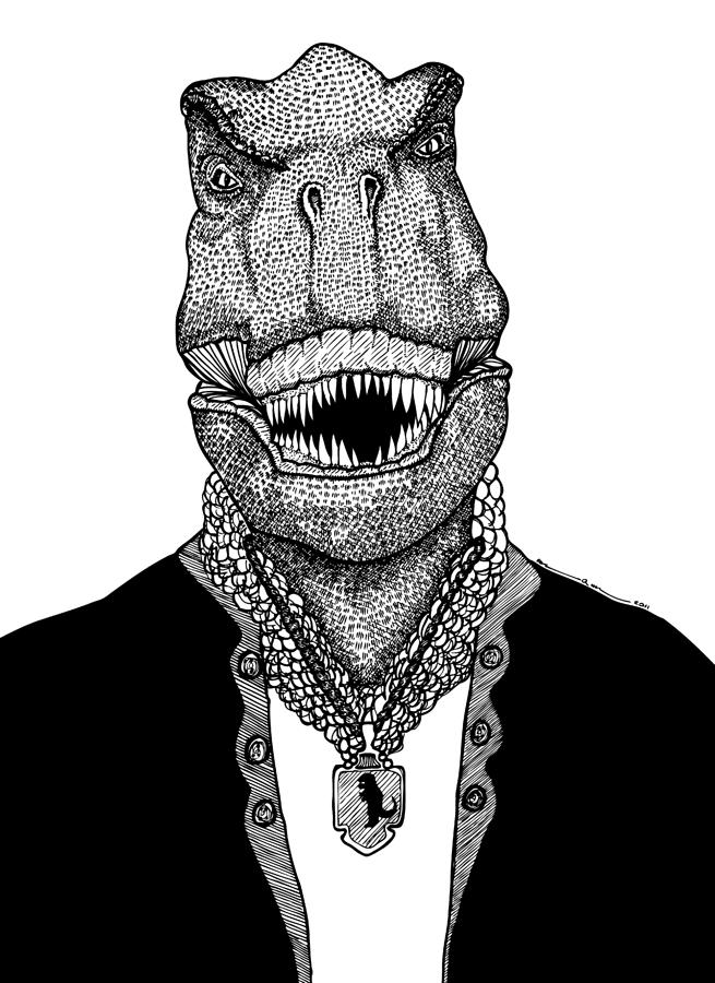 T Rex The Awesome Dinosaur Drawing  - T Rex The Awesome Dinosaur Fine Art Print