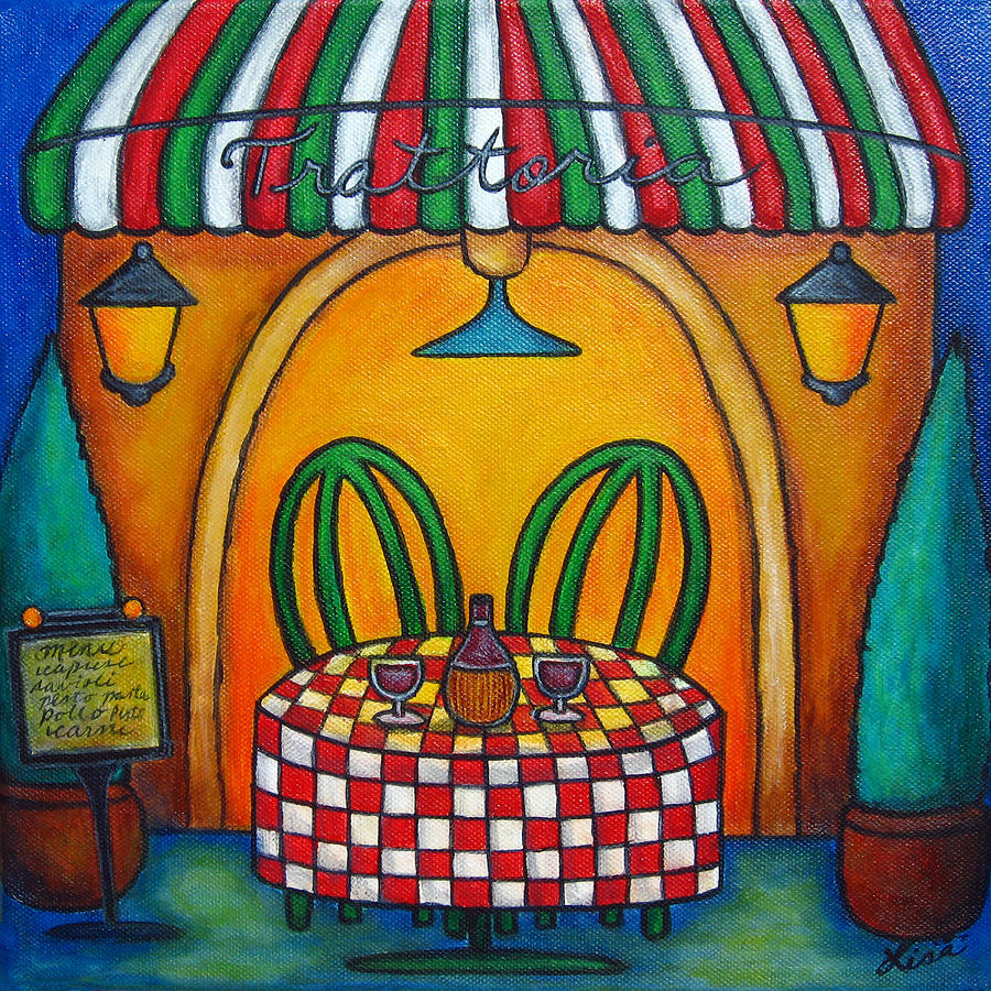 Table For Two At The Trattoria Painting  - Table For Two At The Trattoria Fine Art Print