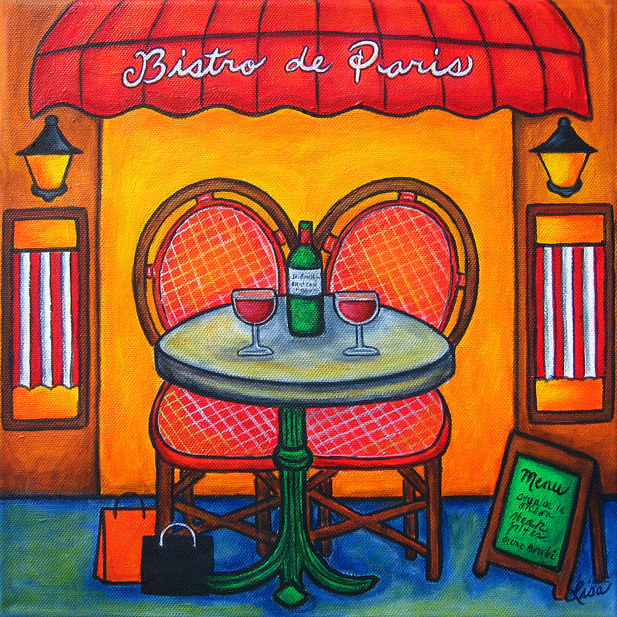 Table For Two In Paris Painting  - Table For Two In Paris Fine Art Print