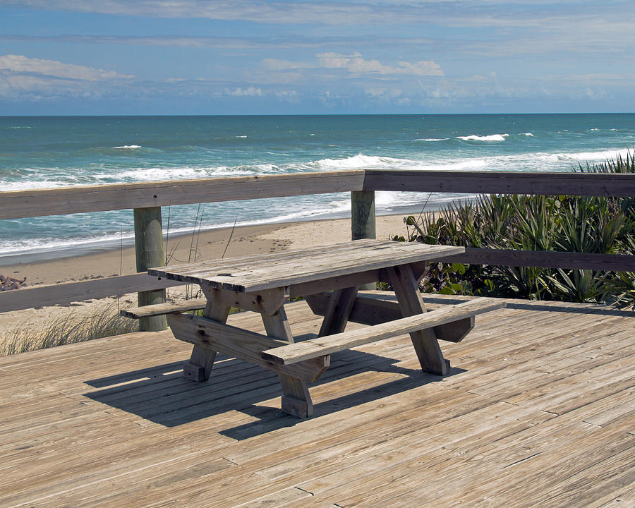 Table For You In Melbourne Beach Florida Photograph  - Table For You In Melbourne Beach Florida Fine Art Print