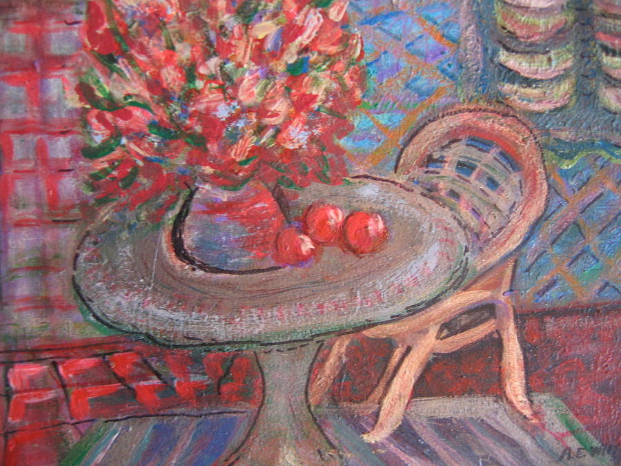 Table With Flowers And Chair Painting