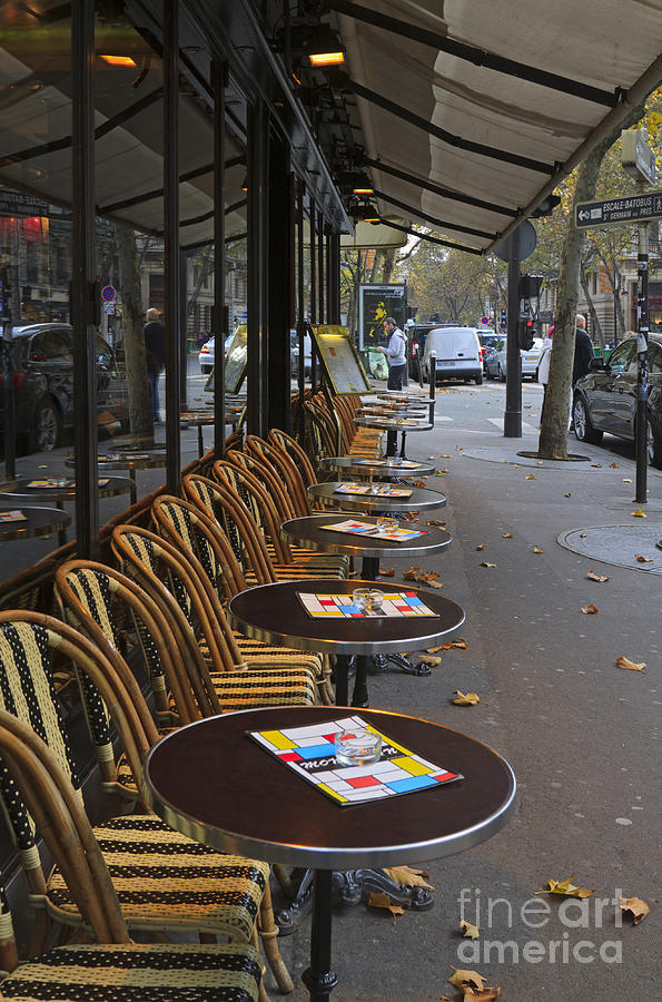 Tables Outside A Paris Bistro On An Autumn Day Photograph