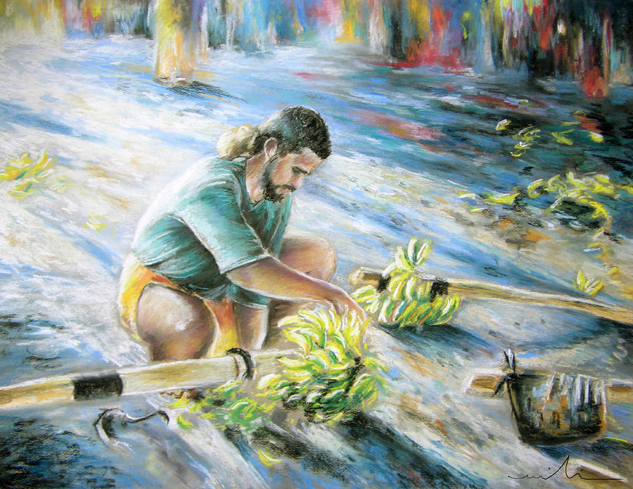 Tahitian Banana Carryer Painting  - Tahitian Banana Carryer Fine Art Print