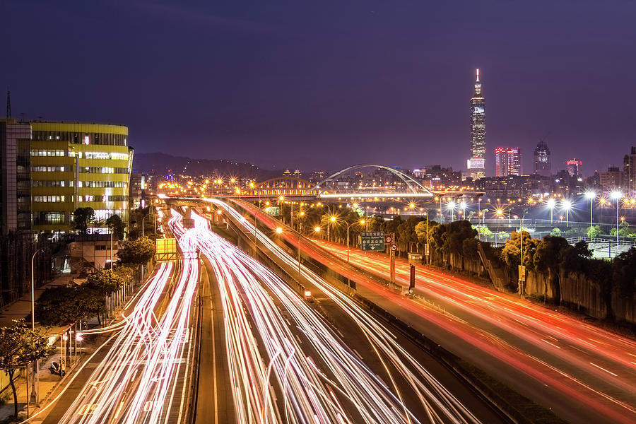 Taipei Light Trails At Night Photograph