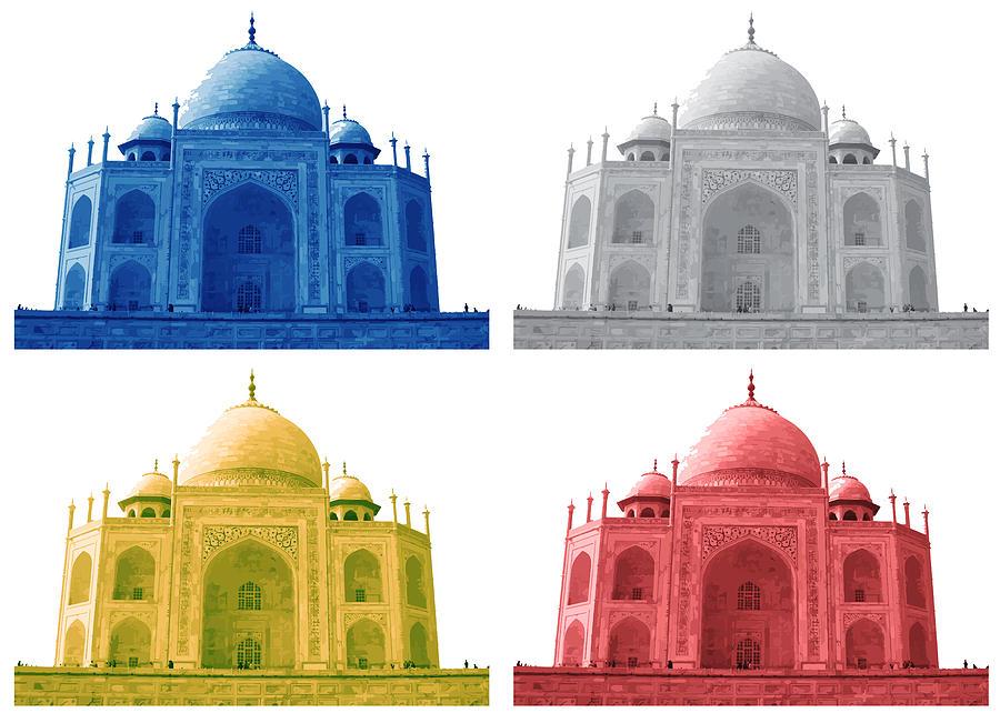 Taj Mahal Colorful Style Digital Art