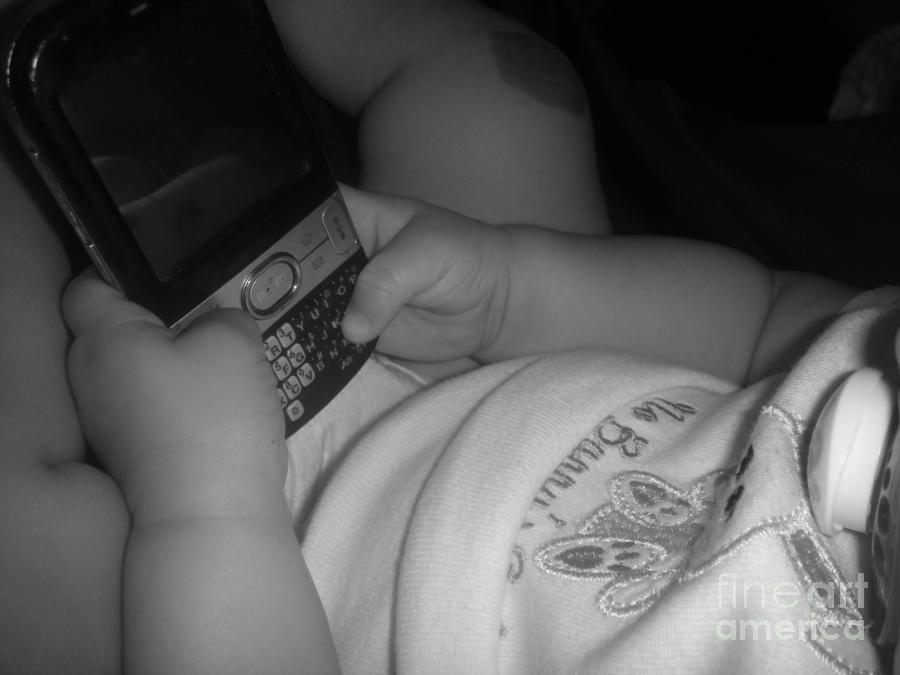 Taking Her First Baby Text..... Photograph  - Taking Her First Baby Text..... Fine Art Print