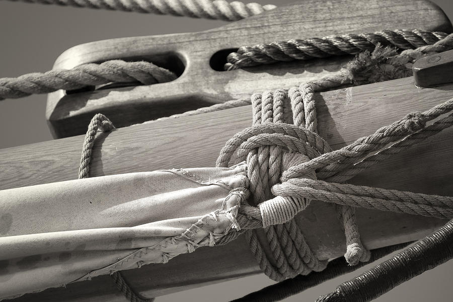 Tall Ship Sail Cloth Sepia Photograph