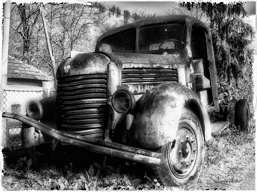 Tam Truck Black And White Photograph