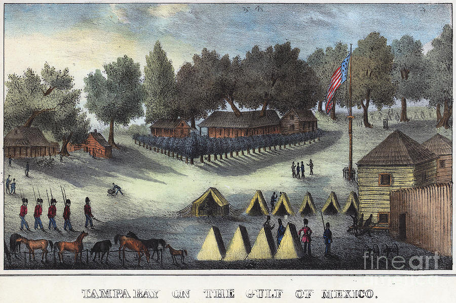 1835 Drawing - Tampa Bay - Fort Brooke by Granger