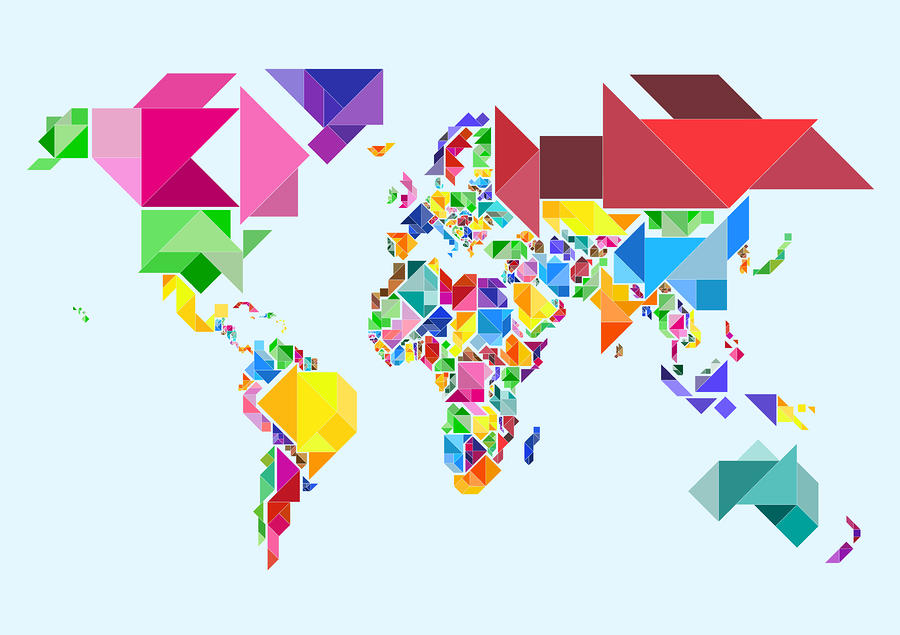 Tangram Abstract World Map Michael Tompsett