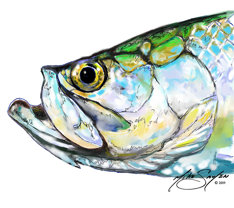 Tarpon Portrait Painting  - Tarpon Portrait Fine Art Print