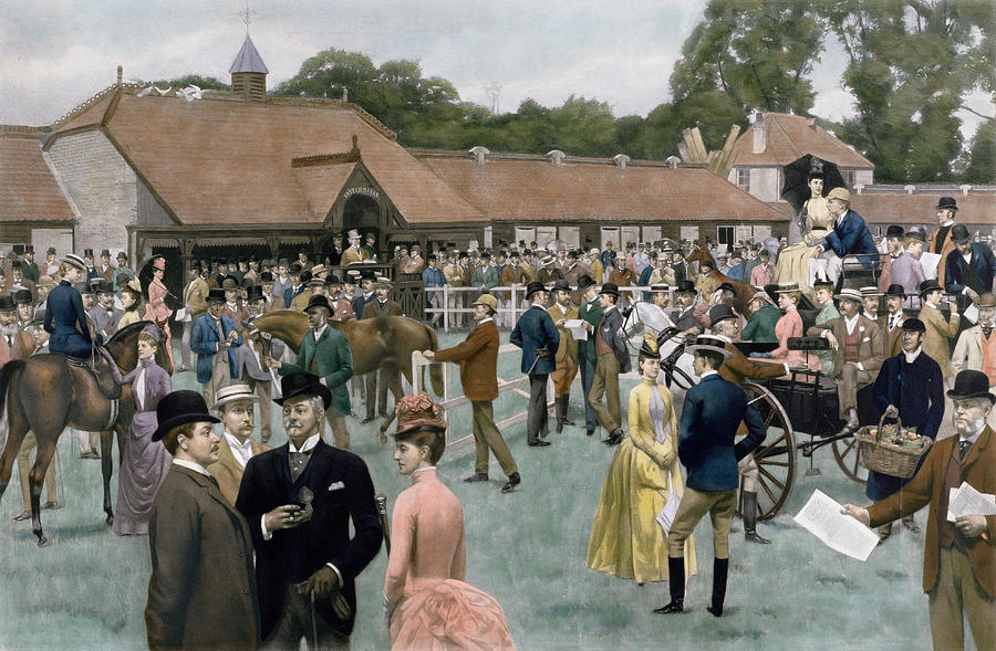 Victorian; Crowd Painting - Tattersalls Newmarket Pub by Isaac J Cullin and I P Mendoza