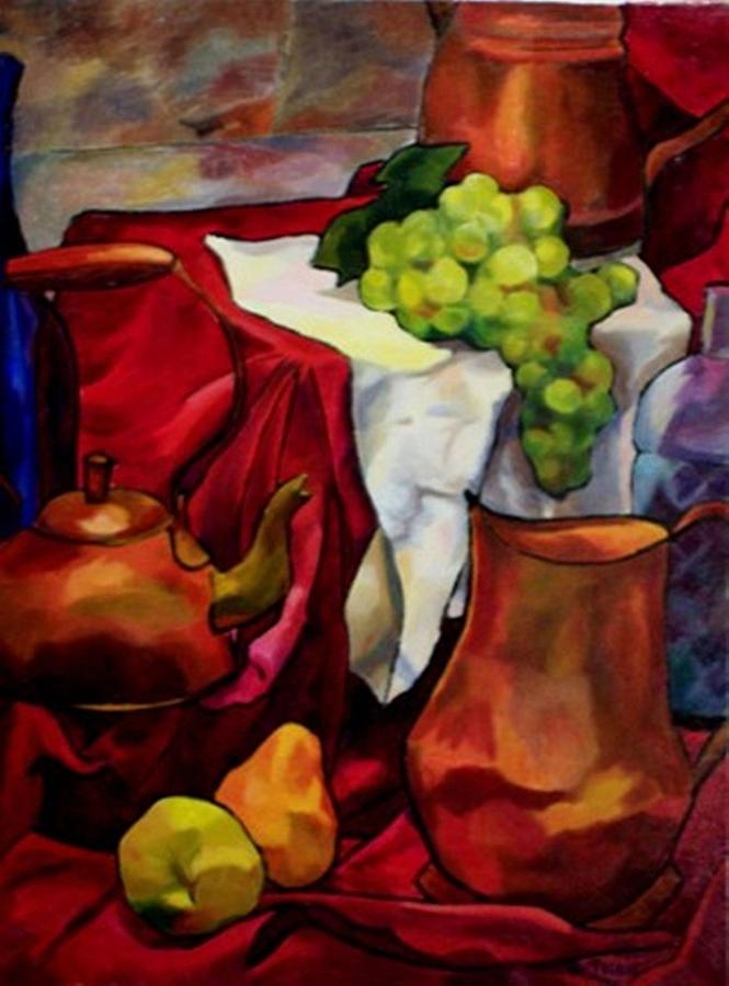 Tea And Fruit On Red Painting