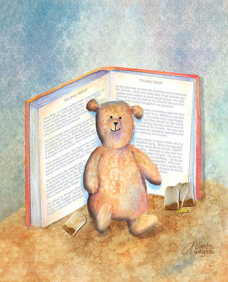 Tea Bag Teddy Mixed Media  - Tea Bag Teddy Fine Art Print