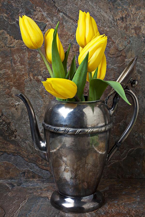 Tea Pot And Tulips Photograph