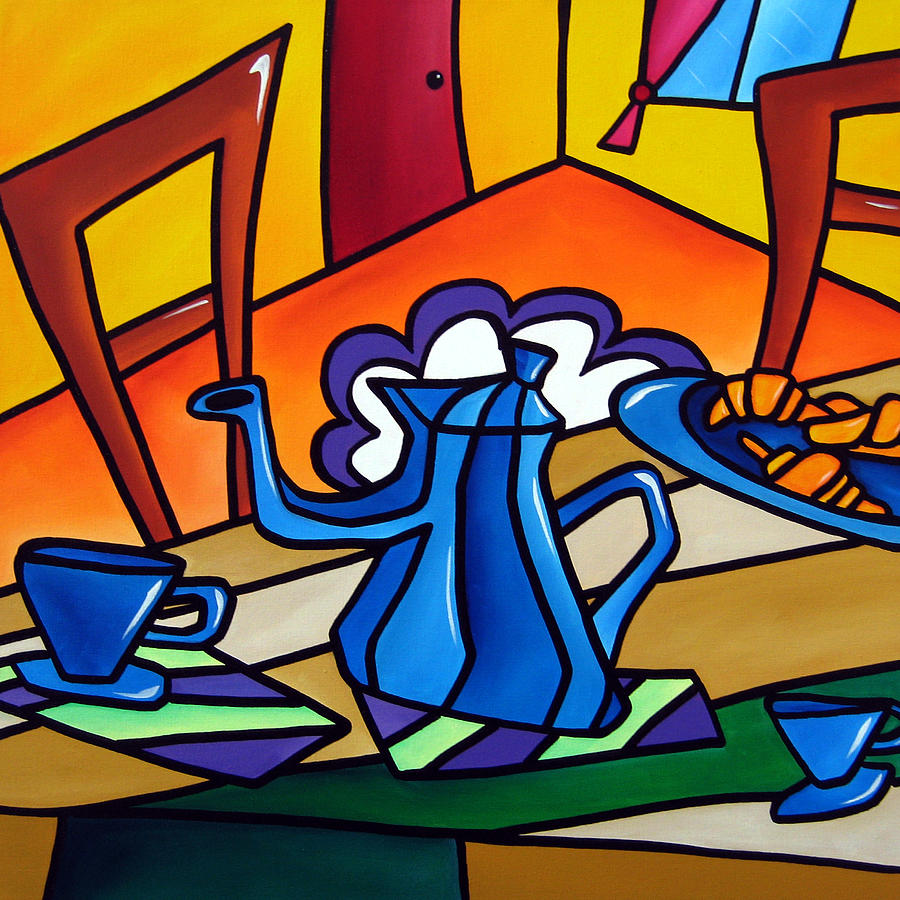 Tea Time - Abstract Pop Art By Fidostudio Painting  - Tea Time - Abstract Pop Art By Fidostudio Fine Art Print