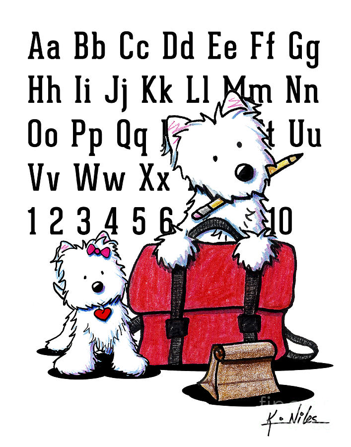 Teachers Pet Westies Drawing  - Teachers Pet Westies Fine Art Print