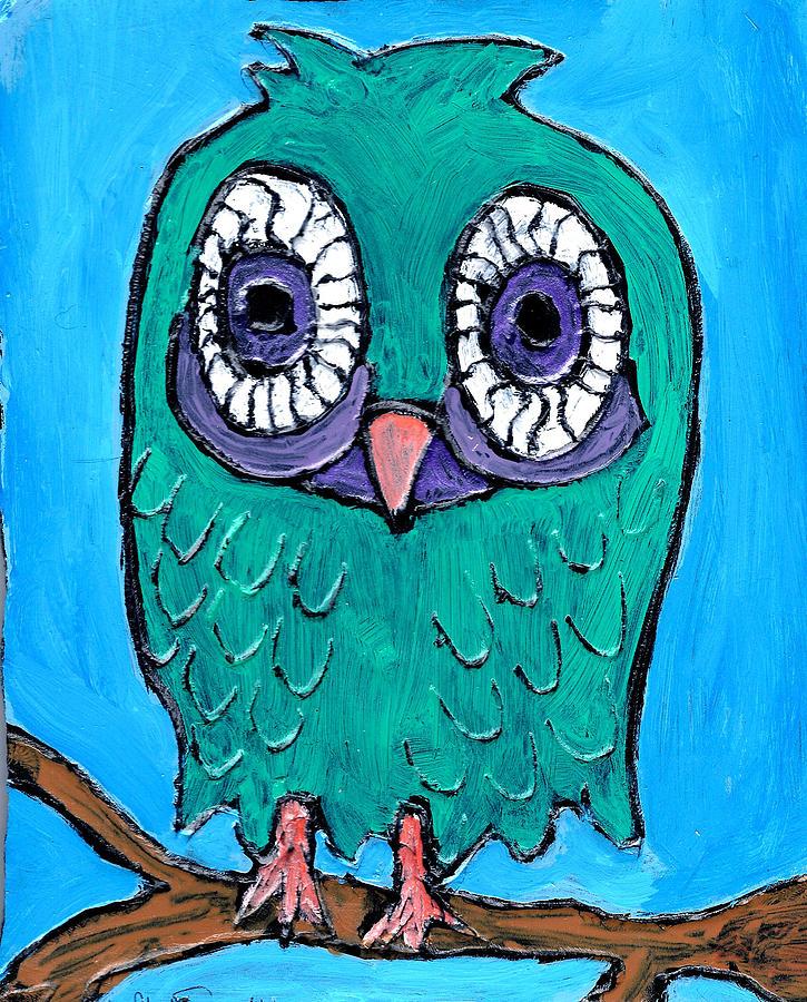 Owl Painting - Teal Hooter 1 by Wayne Potrafka